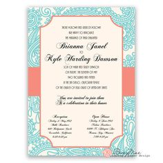 Turquoise and coral palette. Whimsical Wedding Invitations, Elegant Invitations, Coral, Turquoise, Wedding Announcements, Paisley Design, Wedding Paper, Paper Design, Getting Married