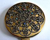 Vintage 40's Filigree Rhinestone Compact 50's Jeweled Ornate Compact Face Powder Vanity Case Art Nouveau Style Compact Snow Flake Compact