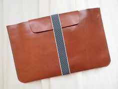 Personalized 11 Macbook Air Case with Elastic Band - Leather -Hand Stitched