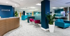 Interaction Case Study | Civica, Specturm, Bristol. This new office, ''South West Hub'', was to be a cost effective functional open plan office space including an impressive client facing reception and a breakout for staff.