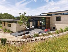 Mountain View rammed-earth home outdoor deck