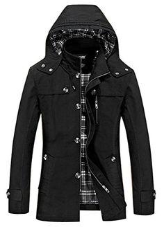 Pivaconis Mens Winter Fleece Line Thicken Loose Fit Hoodie Down Coat Jacket Outerwear