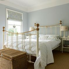 Pale blue and cream bedroom