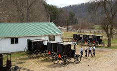 Amish boys walk to the school house for their final day of class in Bergholz, Ohio, April 9, 2013.