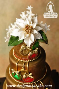 This is a beautiful cake for your Holiday-themed wedding!