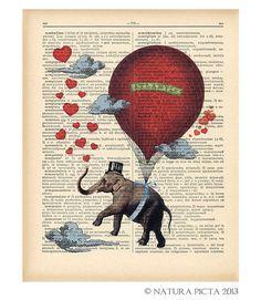 Items similar to Flying elephant on hot air balloon dictionary print-funny elephant art print-Hot air balloon print-Upcycled Dictionary art-by NATURA PICTA on Etsy Funny Elephant, Flying Elephant, Elephant Art, Water For Elephants, Printed Balloons, Dictionary Art, Upcycled Vintage, Free Prints, Hot Air Balloon