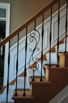 interior staircase - traditional - staircase - chicago - Jusalda custom stairs Inc, Wrought Iron Staircase, Interior Staircase, Staircase Remodel, Staircase Railings, Staircase Design, Banisters, Wood Railing, Wood Stairs, Railing Design
