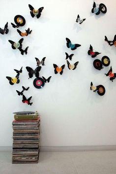 Butterflies made with vinyl records. Here's how http://threadsence.com/Blog/diy-vinyl-butterflies-2/