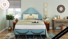 A bedroom with an Ethnic Middle Eastern Look that beautifully combines shades of blue.  Read more on our blog!  #eastern #ethnic #bedrom