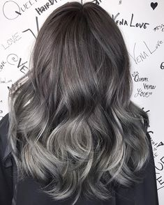 My beautiful Ash steel grey hair painting + base color + tone + haircut + hairstyle #hairbyvena