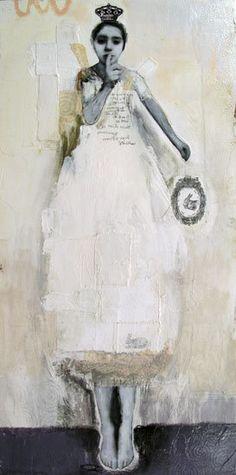 """Par-delà le bien et le mal vendue-sold Idea for encaustic: paper doll-ish by cutting """"dresses""""out and layering on."""