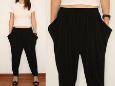 8d77813e2521 Harem Pants Yoga Pants Loose fit Pants in Black for Women.  22.00