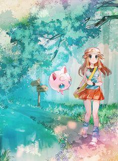 Leaf and Jigglypuff, Pokemon Pokemon Rouge, Pokemon People, Pokemon Comics, Pokemon Fan Art, Cute Pokemon, Pokemon Jigglypuff, Anime Naruto, Pokemon Special, Anime Characters