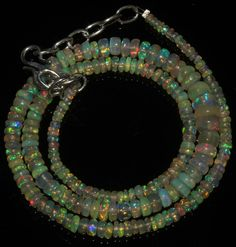 "43 Crts 1 Strands 2 to 7 mm 16"" Beads necklace Ethiopian Welo Fire Opal  A+1646"
