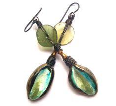 Boho Chic Roman Glass Jewelry, Bohemian Ceramic Earrings, Earrings Handmade, Unusual Boho Jewelry, Boho Fashion Earrings, Niobium Earrings