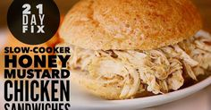 21 Day Fix healthy family slow-cooker/crockpot chicken sandwich recipe.