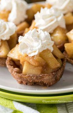 Apple Pie Bites are a quick and easy way to get your apple pie fix in a delicious hand held bite! Crisp cinnamon sugar shells are filled with a warm apple pie filling and topped with whipped cream or ice cream; the perfect fall bite. Healthy Apple Desserts, Mini Desserts, Apple Recipes, Easy Desserts, Gourmet Recipes, Baking Recipes, Fall Recipes, Apple Pie Bread, Apple Pie Bites