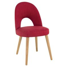Wren Living - Soho Oak Uph Chair - Red Fabric - This colour pop of a dining chair is the perfect accompaniment to your contemporary dining space!
