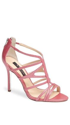 Strappy pink sandal for a pop of color under a white dress