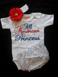 Th Of July Outfit Baby Girl Clothes All American Princess Onesie  4th Of July Clothing For Baby Girls