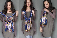 How to turn a scarf into a bag and 14 other things to do with a scarf or scrap of fabric! Awesome and easy!!