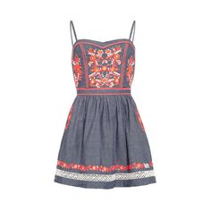 Festival Folk Cami Dress (2,090 MXN) ❤ liked on Polyvore featuring dresses, blue chambray, strappy cami, cutout dress, blue camisole, blue dress and blue floral dress