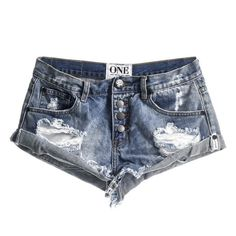 One Teaspoon Bandits cut-off shorts in ford ❤ liked on Polyvore featuring shorts, one teaspoon, torn shorts, distressed shorts, cut-off shorts and cut off shorts
