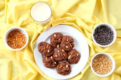 Gluten Free Double Chocolate Chip Cashew Pretzel Cookies | Wheat-Free Meat-Free