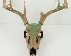 Deer Skull Taxidermy with Antlers Copper Natural Aqua Patina Painted Art Sculpture