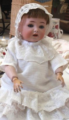 Pretty little vintage doll at the Toy Museum in Prague, Czech Republic.