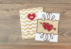 Valentine's Day Cricut Cartridge - Gold Valentine and envelope. Make It Now with the Cricut Explore in Cricut Design Space.