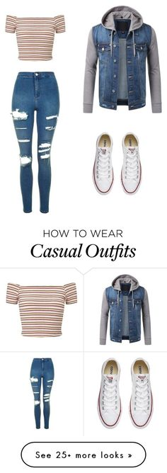 """casual"" by jojozuka on Polyvore featuring Miss Selfridge, Topshop and Converse (Fall Top White Jeans)"