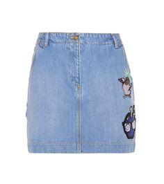 KENZO Denim Skirt With Appliqué. #kenzo #cloth #skirts