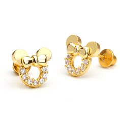 Minnie Mouse Children/'s Earrings CZ Crystal Bow Screw Back 18k Gold Over $83