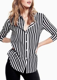Casual Stripe Design Turndown Collar Long Sleeve Blouse on sale only US$13.08 now, buy cheap Casual Stripe Design Turndown Collar Long Sleeve Blouse at martofchina.com