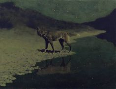 Frederick Remington, 'Moonlight Wolf', 1909, oil on canvas