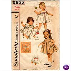 TODDLER'S DRESS & JUMPER DRESS SEWING PATTERN 1960s