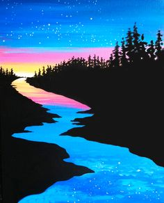 painting night paint sunset paintings sky river nature beginner easy acrylic simple canvas starry wine musepaintbar