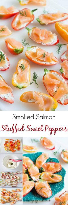 Irresistibly crunchy, creamy and smoky, these adorable smoked salmon stuffed sweet peppers are laughably simple to make and feeds a crowd. Perfect for spring bridal and baby showers!