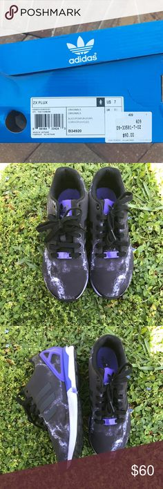 Adidas ZX Flux Size 7 Adidas ZX Flux. Black and purple worn twice run half a size big Adidas Shoes Sneakers