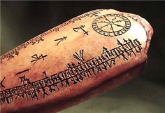 ANCIENT VIKING RUNIC LUNAR CALENDAR 1000 AD Norway ancient replica/wikipedia has an excellent and comprehensive page on runic calendars/ above is a replicate that was sold on ebay.