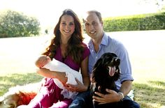 Royal pup Lupo, plus the Middleton family's dog Tilly, crashed the second portrait of the new parents with Prince George.