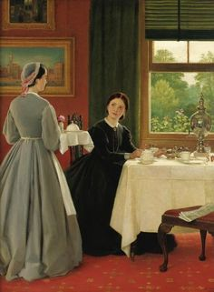 Being in Service in Victorian England ~ Blog of an Art Admirer  --  George Dunlop Leslie - Afternoon tea, 1865