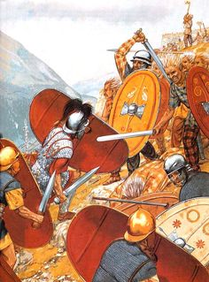 Legionaries fighting Gauls in the Alps during the campaign of 15 BC. Augustas' attempt to open the Great St Bernard Pass for Roman traffic was successful. They faced strong opposition by the local Veragri tribe.