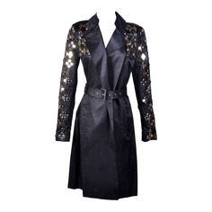 New VERSACE Black Embellished Linen Cotton Trench Coat | From a collection of rare vintage coats and outerwear at https://www.1stdibs.com/fashion/clothing/coats-outerwear/