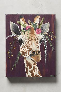 Spring Whitaker paints a glamourous giraffe over a purple background with a crown of beautiful assortment of flowers. Our canvas wall art and art prints are proudly printed in the USA using the coveted giclée method. Painting Inspiration, Art Inspo, Style Inspiration, Giraffe Art, Giraffe Drawing, Giraffe Painting, Giraffe Bedroom, Purple Wall Art, Drawn Art