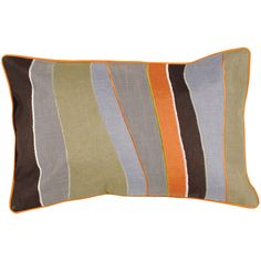 Pate Brown/Sage/Grey Stripe 13-inch x 20-inch Rectangle Decorative Pillow | Overstock.com Shopping - The Best Deals on Throw Pillows