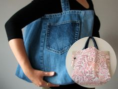 THIS I would make, very cute denim version of the shopping bag