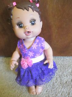 """12"""" Baby Alive Doll Clothes Purple Pink Party Dress Lace Handmade 