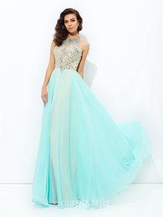f125de596b5 A-Line Princess Jewel Beading Sleeveless Floor-Length Chiffon Dresses Prom  Dresses For